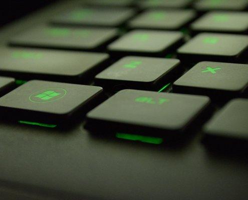 Keyboard with green backlighting
